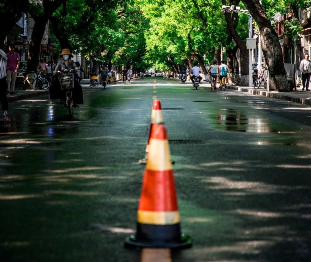 traffic cones in the middle of the street