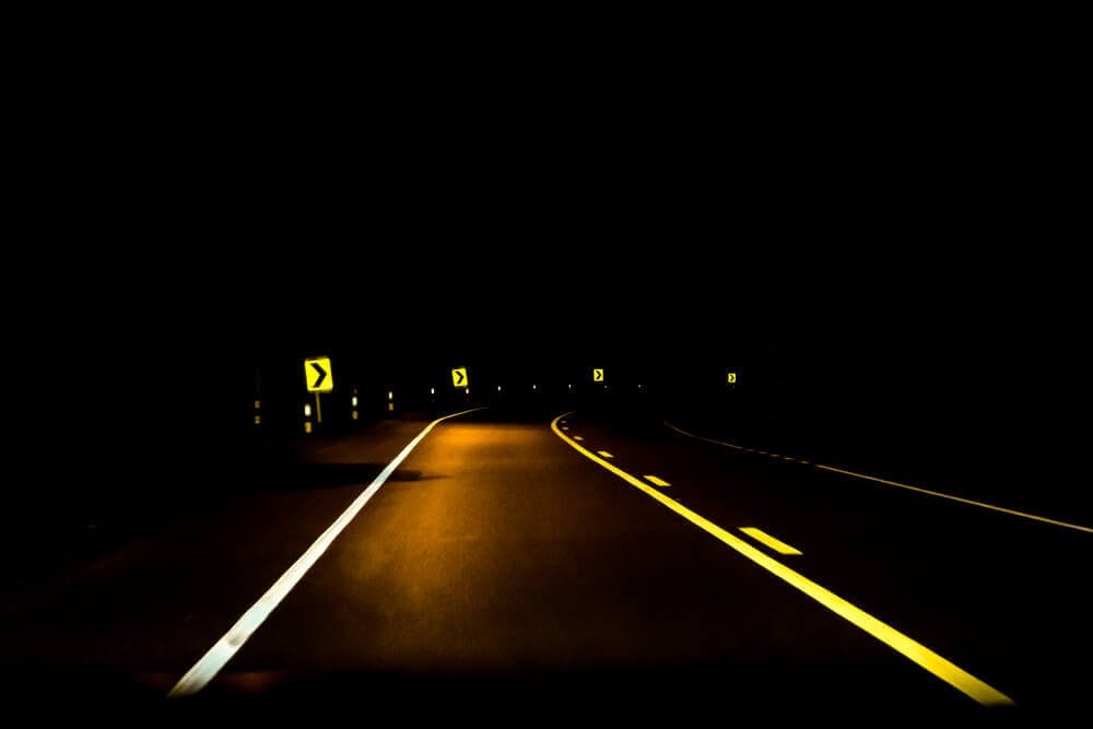 Night time image of a road
