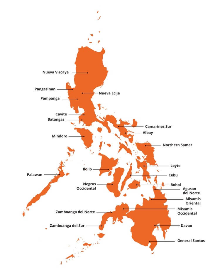 Orange map of the Philippines in white background